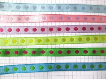 10mm Spot Woven Ribbon   Choice of colour.